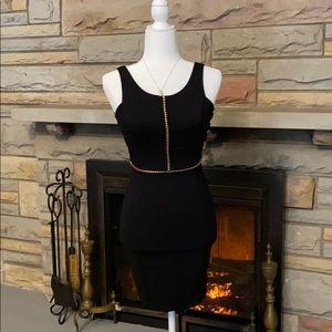 H&M black/gold sleeveless zippered dress size 6